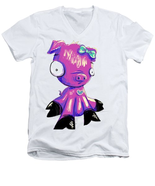 Piggy  Men's V-Neck T-Shirt by Lizzy Love