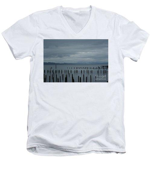 Pilings On Columbia River Men's V-Neck T-Shirt