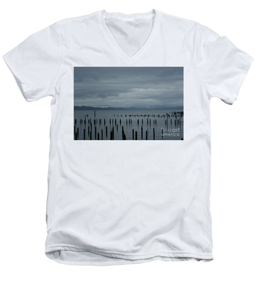 Pilings On Columbia River Men's V-Neck T-Shirt