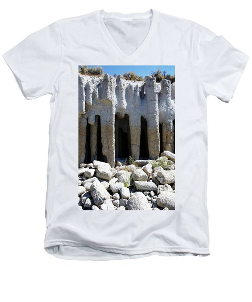 Pillars At Crowley Lake Men's V-Neck T-Shirt by Michael Courtney