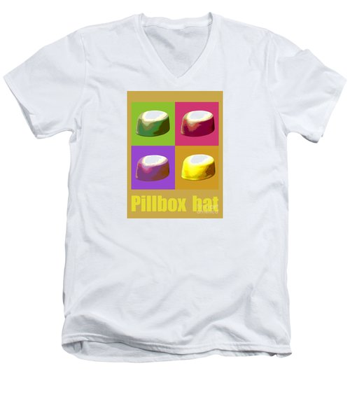 Men's V-Neck T-Shirt featuring the digital art Pillbox Hat by Jean luc Comperat