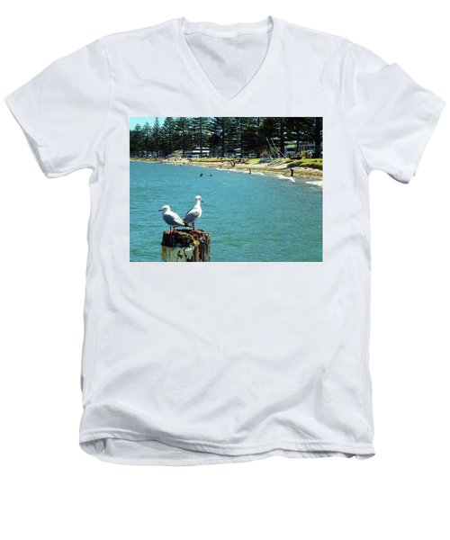 Pilot Bay Beach 4 - Mount Maunganui Tauranga New Zealand Men's V-Neck T-Shirt by Selena Boron