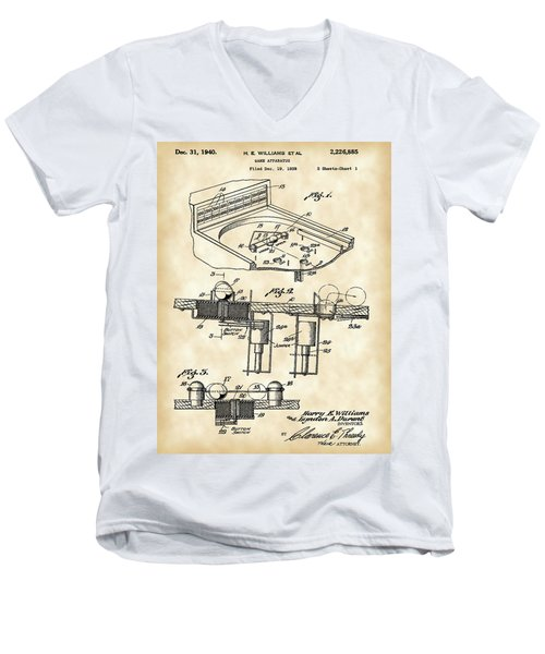 Pinball Machine Patent 1939 - Vintage Men's V-Neck T-Shirt by Stephen Younts