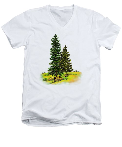 Pine Tree Nature Watercolor Ink Image 2b        Men's V-Neck T-Shirt