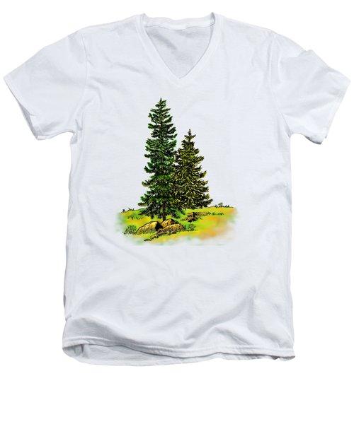 Pine Tree Nature Watercolor Ink Image 2b        Men's V-Neck T-Shirt
