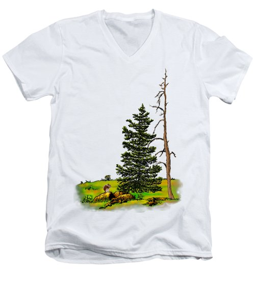 Pine Tree Nature Watercolor Ink Image 3         Men's V-Neck T-Shirt