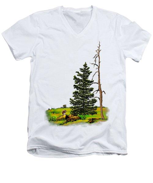 Pine Tree Nature Watercolor Ink Image 3         Men's V-Neck T-Shirt