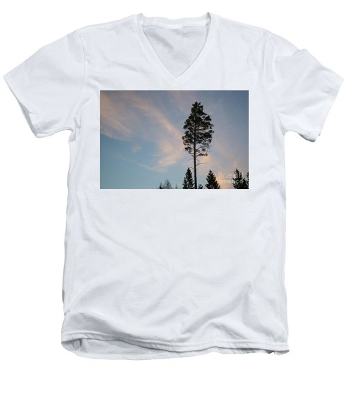 Pine Tree Silhouette Men's V-Neck T-Shirt by Kennerth and Birgitta Kullman