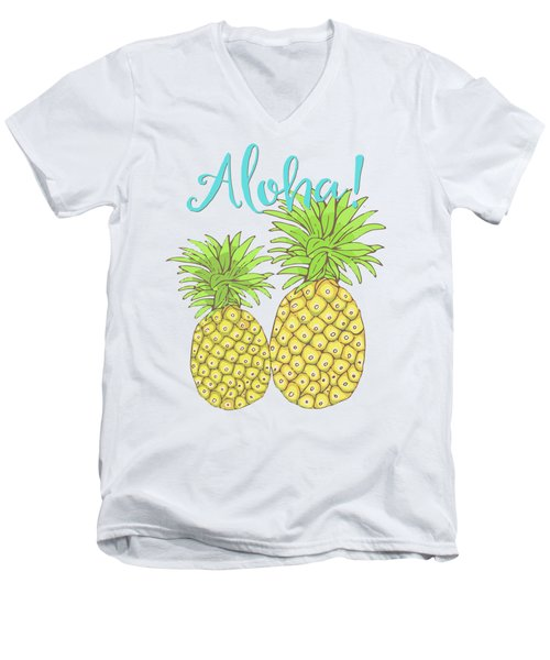 Pineapple Aloha Tropical Fruit Of Welcome Hawaii Men's V-Neck T-Shirt by Tina Lavoie