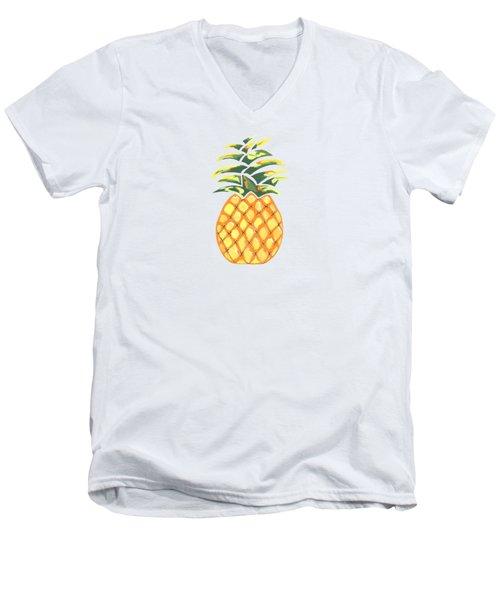 Pineapple Men's V-Neck T-Shirt by Kathleen Sartoris