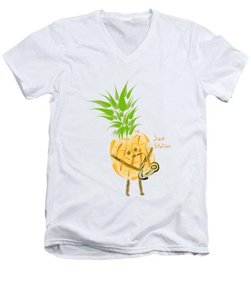 Pineapple Playing Saxophone Men's V-Neck T-Shirt