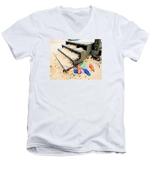 Pink And Blue Flip Flops By The Steps Men's V-Neck T-Shirt