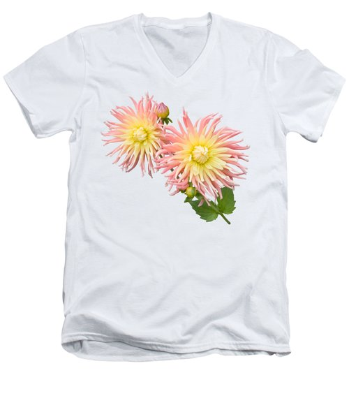 Men's V-Neck T-Shirt featuring the photograph Pink And Cream Cactus Dahlia by Jane McIlroy