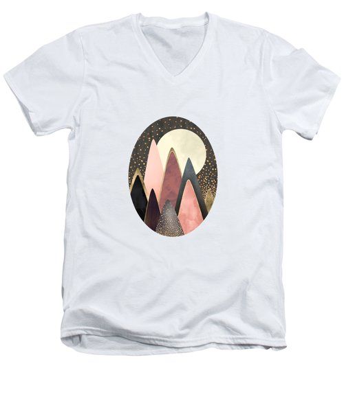 Pink And Gold Peaks Men's V-Neck T-Shirt