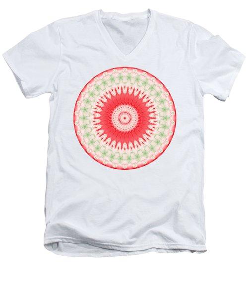 Pink And Green Mandala Fractal 001 Men's V-Neck T-Shirt