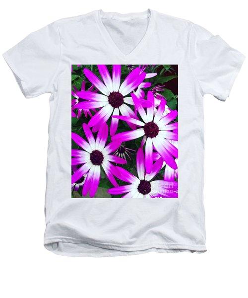 Pink And White Flowers Men's V-Neck T-Shirt by Vizual Studio