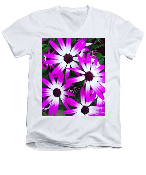 Pink And White Flowers Men's V-Neck T-Shirt