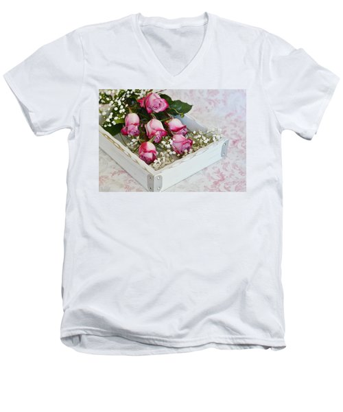 Pink And White Roses In White Box Men's V-Neck T-Shirt by Diane Alexander