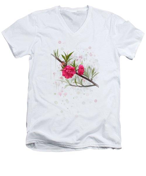 Hot Pink Blossom Men's V-Neck T-Shirt by Ivana Westin