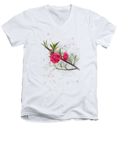 Men's V-Neck T-Shirt featuring the painting Hot Pink Blossom by Ivana Westin