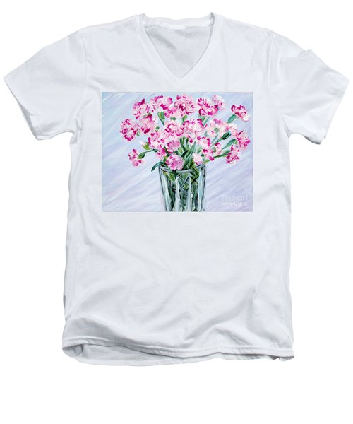 Pink Carnations In A Vase. For Sale Men's V-Neck T-Shirt