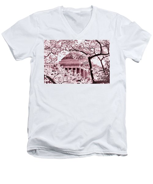 Pink Cherry Trees At The Jefferson Memorial Men's V-Neck T-Shirt