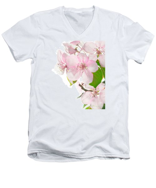 Pink Crabapple Blissoms Men's V-Neck T-Shirt by David Perry Lawrence