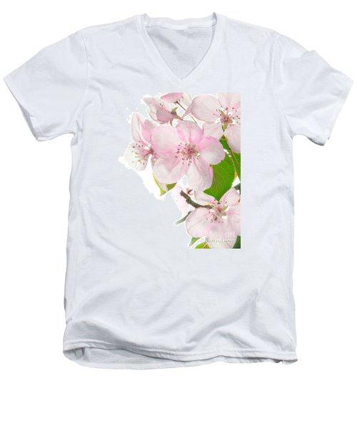 Pink Crabapple Blissoms Men's V-Neck T-Shirt