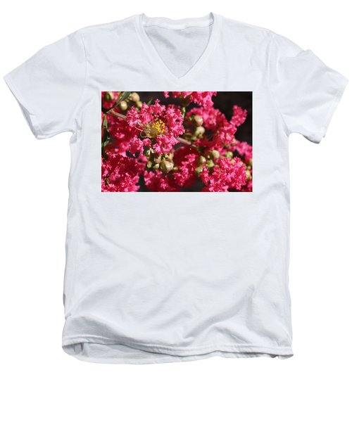 Men's V-Neck T-Shirt featuring the photograph Pink Crepe Myrtle Flowers by Debi Dalio