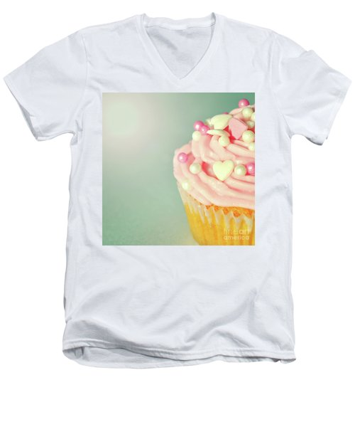 Men's V-Neck T-Shirt featuring the photograph Pink Cupcake With Lovehearts by Lyn Randle