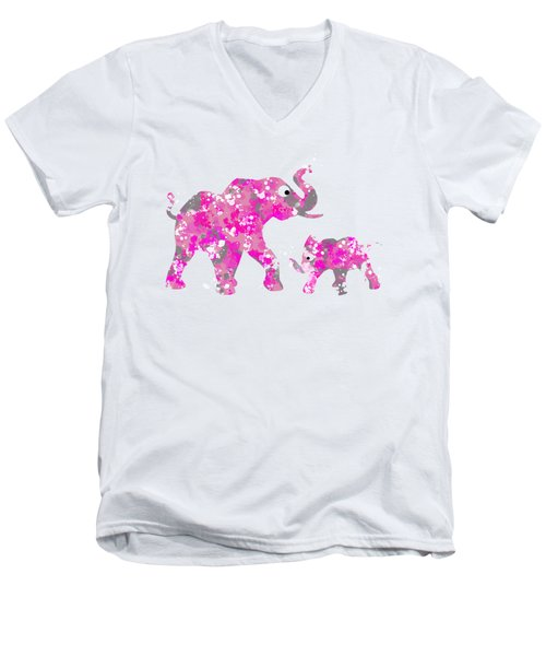 Pink Elephants Men's V-Neck T-Shirt by Christina Rollo