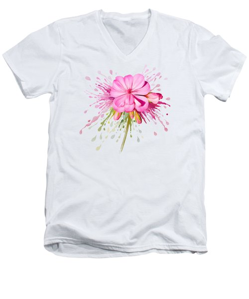 Men's V-Neck T-Shirt featuring the painting Pink Eruption by Ivana Westin