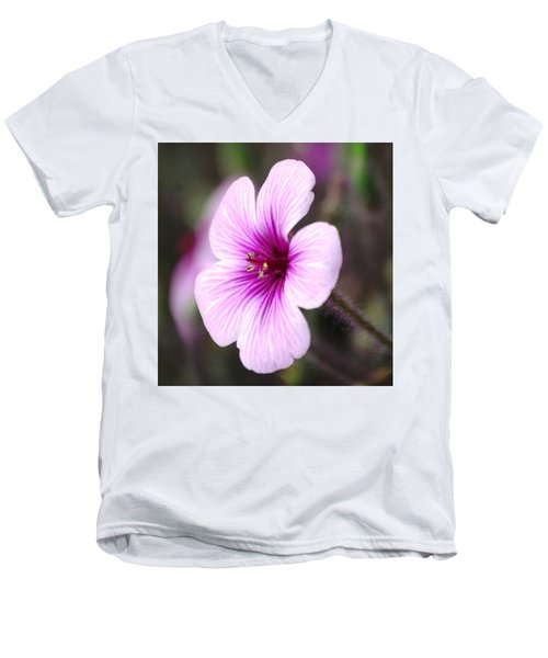 Men's V-Neck T-Shirt featuring the photograph Pink Flower by Sumoflam Photography