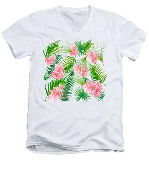 Pink Frangipani And Fern Leaves Men's V-Neck T-Shirt by Jan Matson