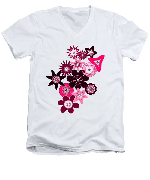 Pink Funky Flowers Men's V-Neck T-Shirt by Methune Hively