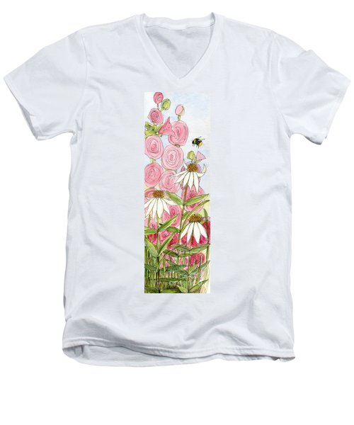 Pink Hollyhock And White Coneflowers Men's V-Neck T-Shirt