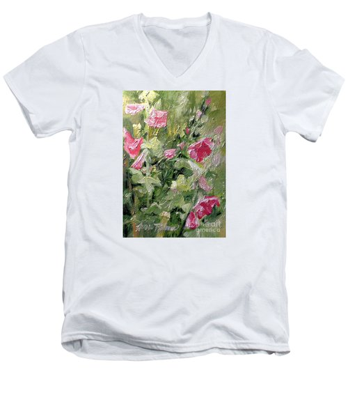 Men's V-Neck T-Shirt featuring the painting Pink Hollyhocks by Laurie Rohner