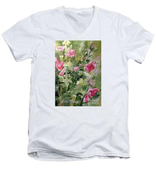 Pink Hollyhocks Men's V-Neck T-Shirt