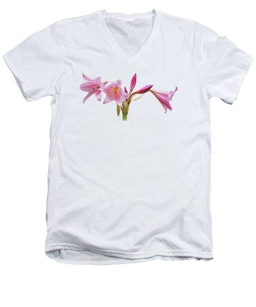 Pink Lilies On Black Men's V-Neck T-Shirt by Gill Billington