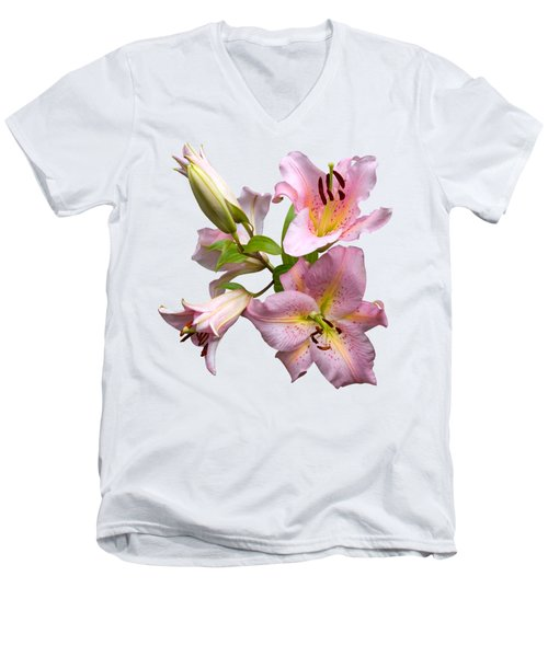 Men's V-Neck T-Shirt featuring the photograph Pink Lilies On Cream by Jane McIlroy