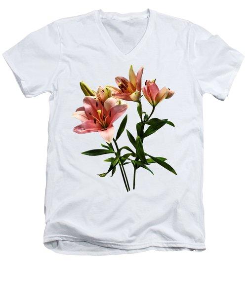 Pink Lily Trio Men's V-Neck T-Shirt by Susan Savad