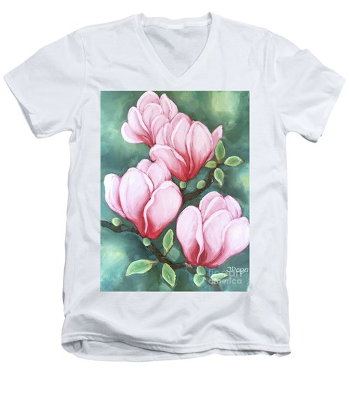 Pink Magnolia Blooms Men's V-Neck T-Shirt