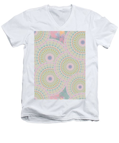 Pink Mandala Pattern Men's V-Neck T-Shirt