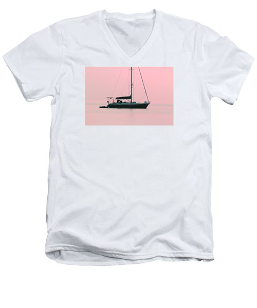 Men's V-Neck T-Shirt featuring the photograph Pink Mediterranean by Richard Patmore
