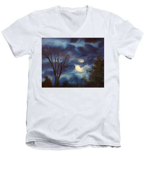 Pink Moon      19 Men's V-Neck T-Shirt