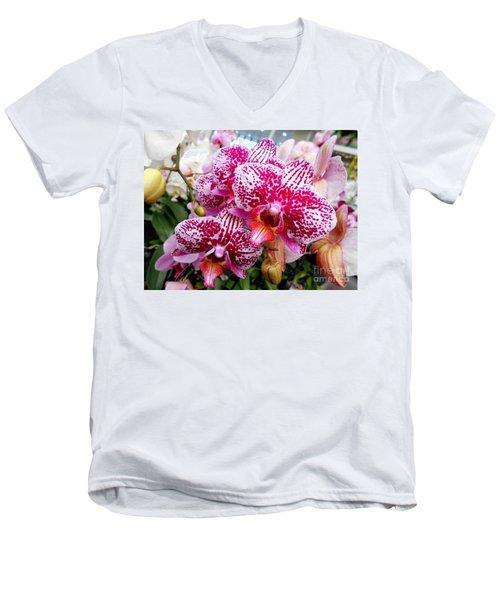 Pink Moth Orchids Men's V-Neck T-Shirt