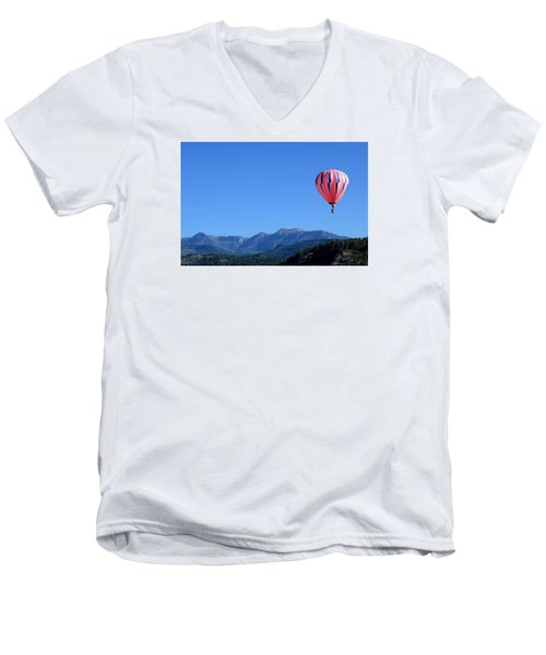 Men's V-Neck T-Shirt featuring the photograph Pink On Blue by Kevin Munro