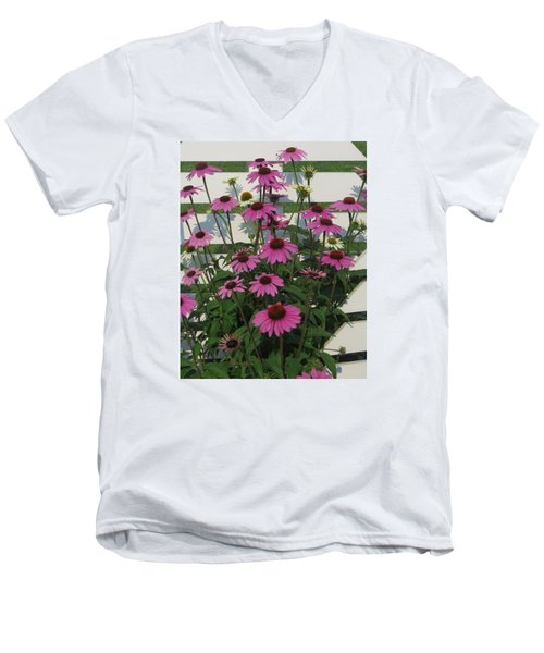 Pink On The Fence Men's V-Neck T-Shirt by Jeanette Oberholtzer