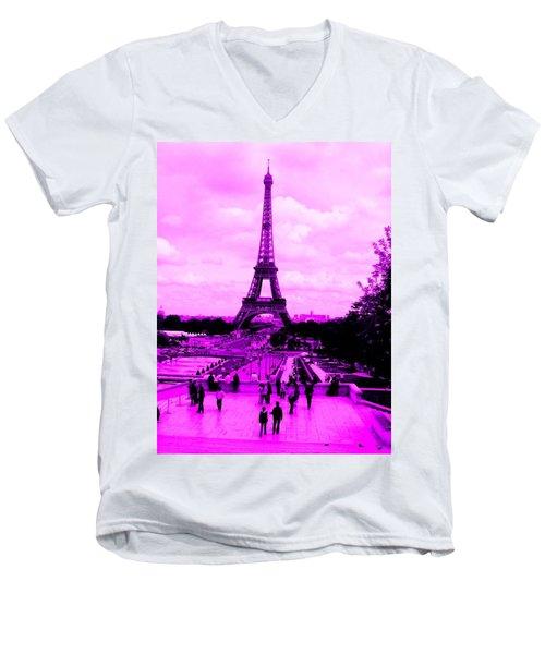 Pink Paris Men's V-Neck T-Shirt