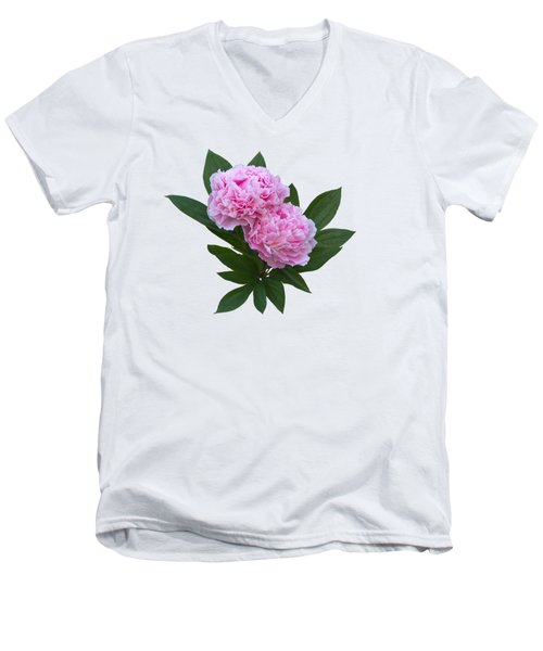 Men's V-Neck T-Shirt featuring the photograph Pink Peonies by Jane McIlroy